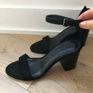Zara woman black real suede heels sandals 7 7.5 38